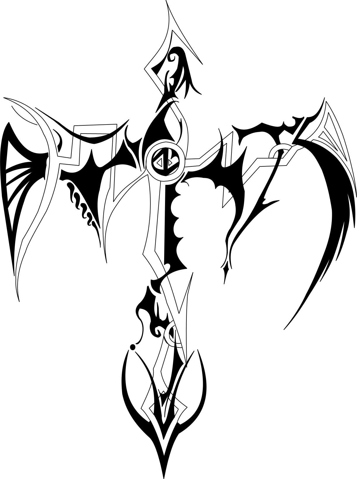 Tribal Cross Tattoo Outline