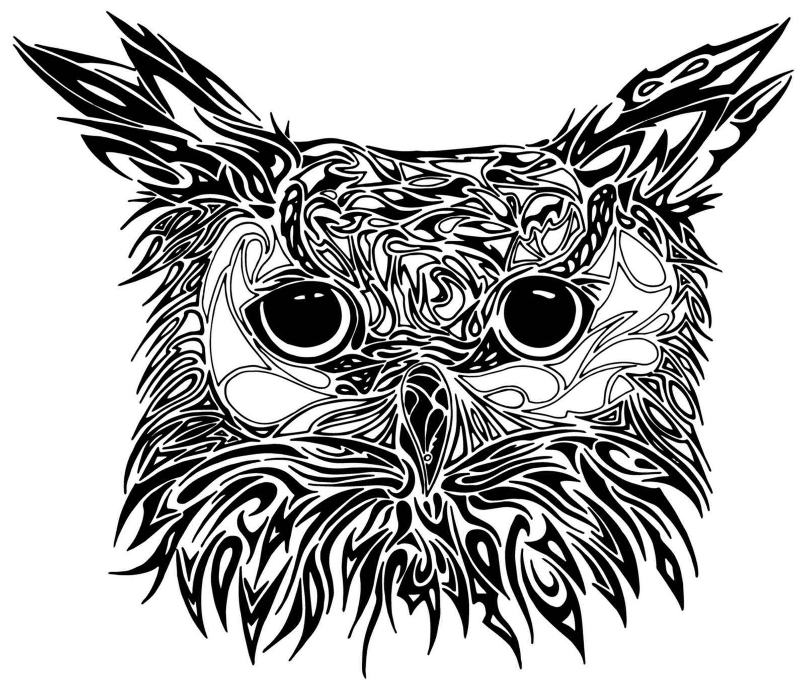 Best owl tattoo designs gallery for Tribal owl tattoo