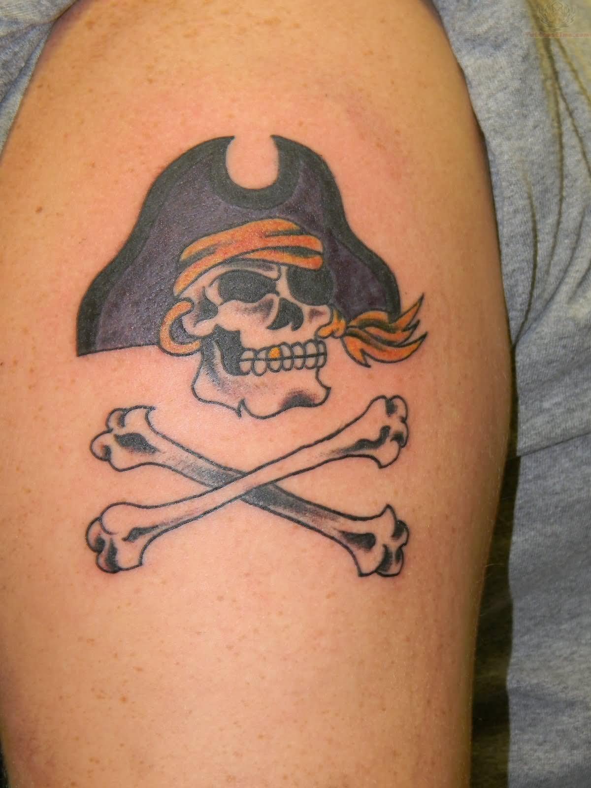 Jolly Roger Skull Tattoo On Left Shoulder