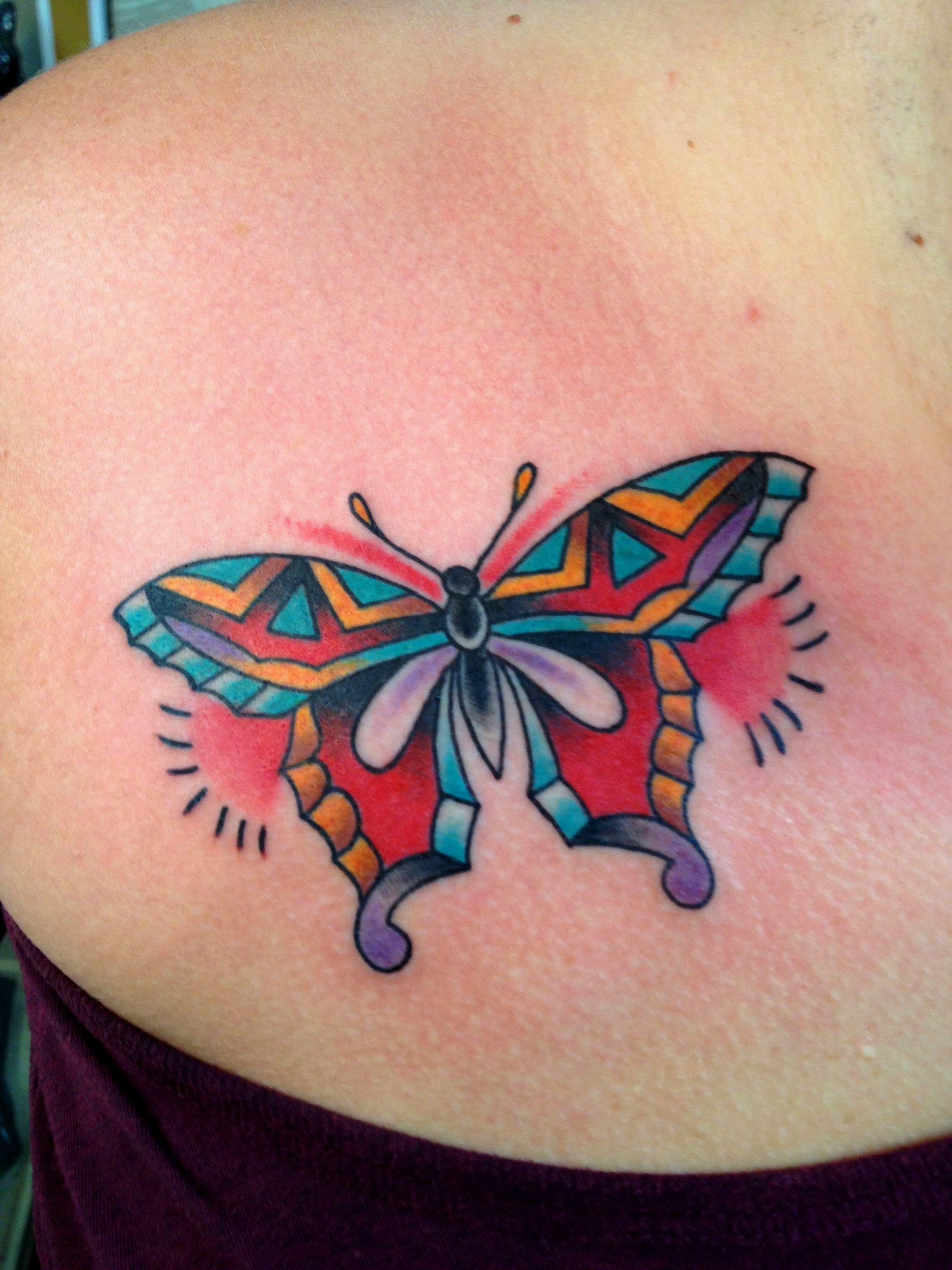 Cute colorful butterfly tattoo for Cute butterfly tattoos
