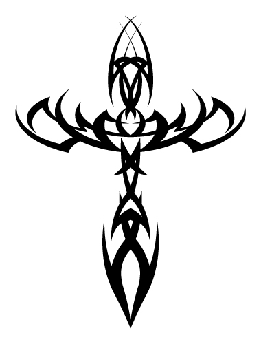Simple Tribal Cross Tattoos