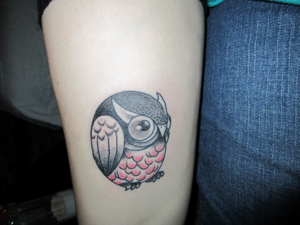 round owl tattoo idea