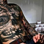 crazy-skull-tattoo-on-chest