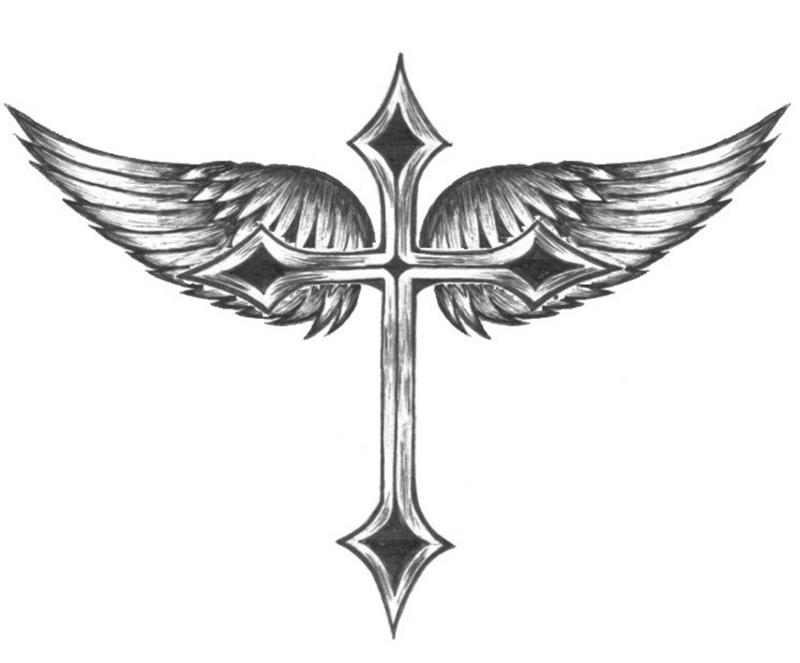 It is a photo of Gutsy Cross With Wings Drawing